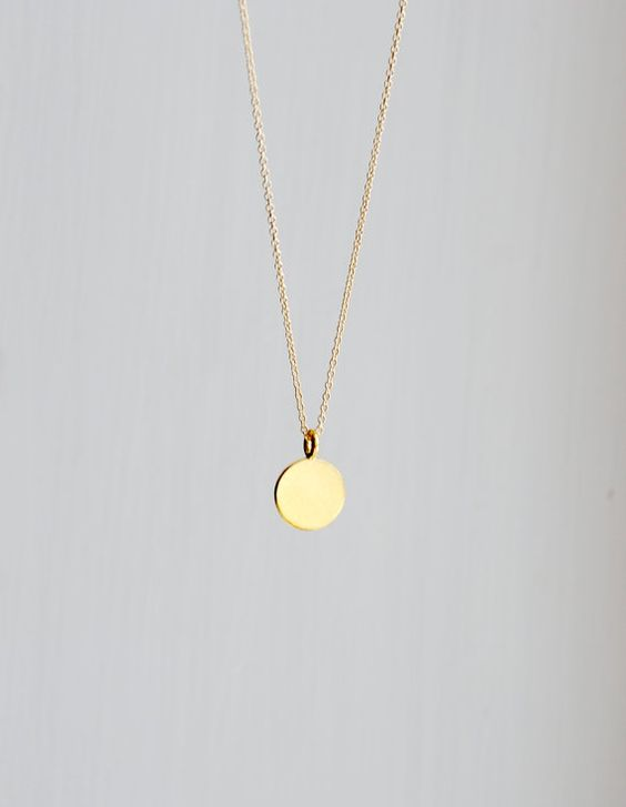 Gold pendant necklace - engravable small round gold vermeil disk pendant gift for her delicate dainty dot - simple everyday jewelry - Ellen