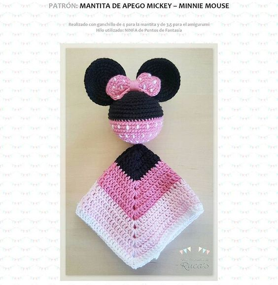 Patron mantita de apego Minnie - Mickey Mouse a crochet con amigurumi