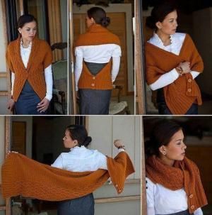 I really like this - This is the Every Way Wrap by Okmin Park. The pattern was in Fall 2009 Interweave Knits by Rwrenee