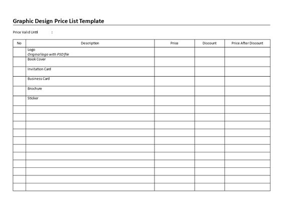 Printable Graphic Design Price List - Download this printable - price list template