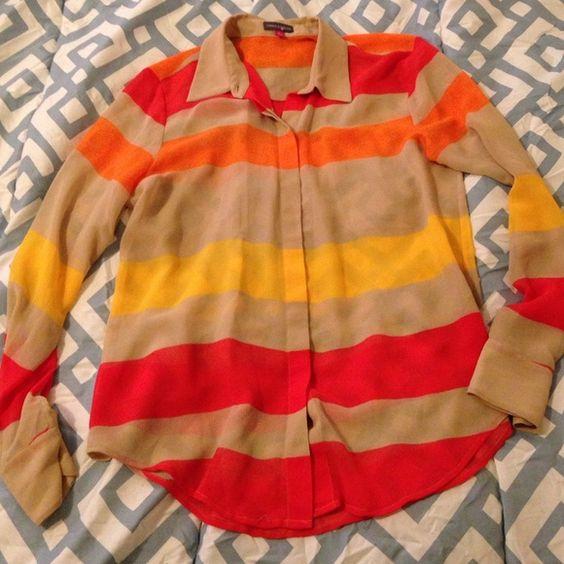 Vince Camuto button up Beautiful sheer, button up, with beautiful colors Vince Camuto Tops Button Down Shirts