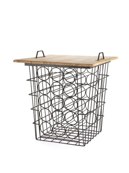 Napa Home & Garden Cellar Master 30 Bottle End Table, Brown/Black, $144. A few inches extra storage to the bottom + plus casters = a perfect utilitarian kitchen piece.