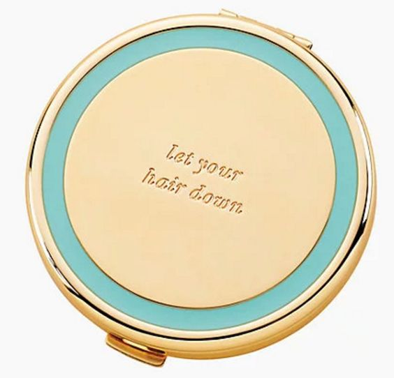 Aqua and Gold Compact Mirror