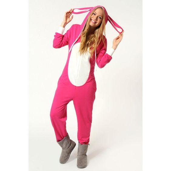 Boohoo Wendy Loopback Bunny Rabbit Animal Onesie ($36) ❤ liked on Polyvore featuring intimates, sleepwear, onesies, pajamas и pyjamas