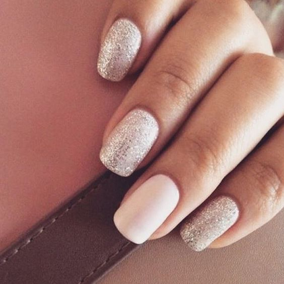 Mismatched glitter and matte nails #nails