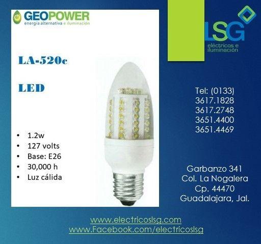 Lampara Led La 520c Entrada E26 De 1 2w De 127v Marca Geo Power La 520c E26 Led 1 2w 127v Geopower Lsg Material Electrico Led Lampara Led