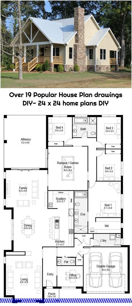 Over 19 Popular House Plan Drawings Diy 24 X 24 Home Plans Diy House Plans Country Style House Plans House