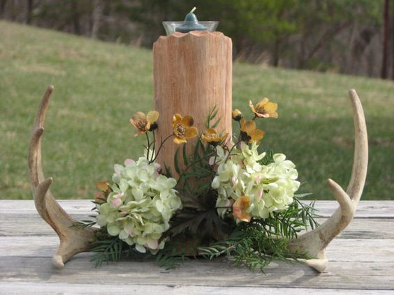 Hey, I found this really awesome Etsy listing at https://www.etsy.com/listing/184411068/deer-antler-centerpiece-camo-wedding