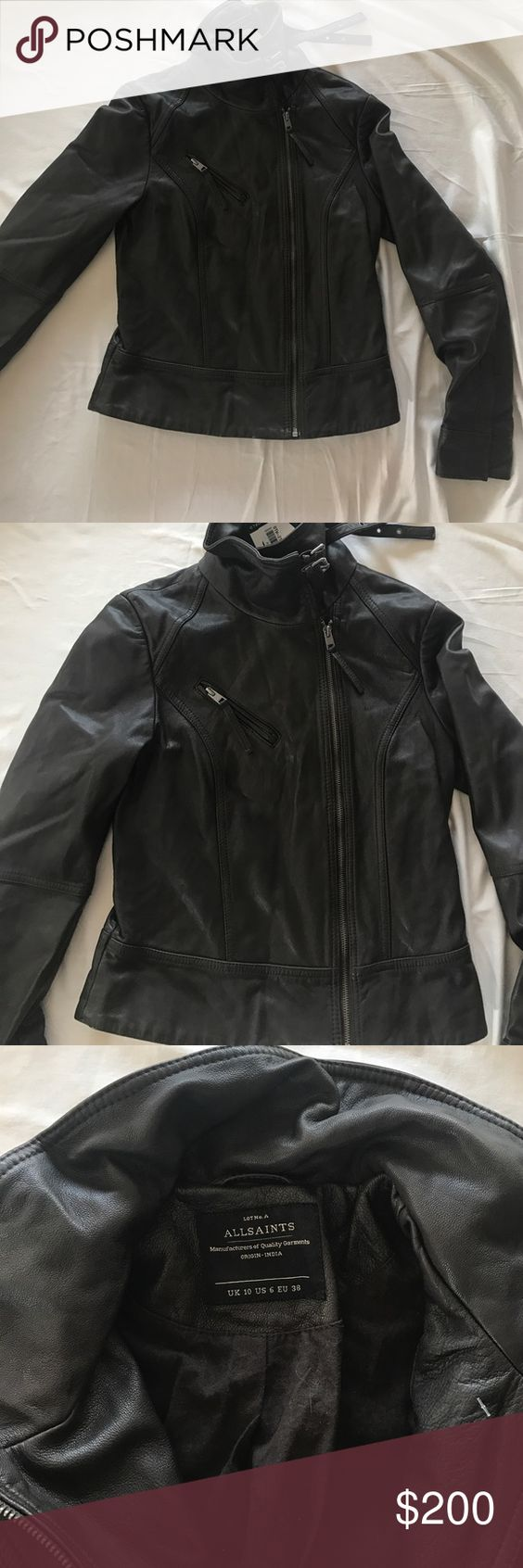 Brand New AllSaints Leather Bomber Jacket | Abs, Coats and Bomber ...