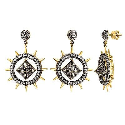 awesome 925 Sterling Silver 4.53ct Diamond Pave Dangle Earrings 18k Gold Fashion Jewelry Check more at http://shipperscentral.com/wp/product/925-sterling-silver-4-53ct-diamond-pave-dangle-earrings-18k-gold-fashion-jewelry/