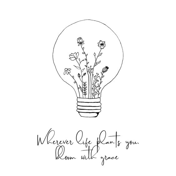 Wherever life plants you, bloom with grace | Lightbulb Terrarium | Bloom Quote | Bloom where planted | Handmadekado  #bloom #quote #plantprint #lightbulb #terrarrium #successquotes