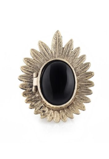 Plated Feather Locket Ring by House of Harlow 1960