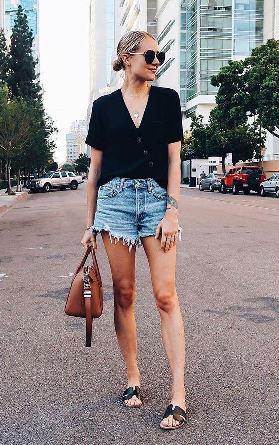 Rasteirinha com shorts