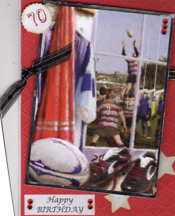 70th Birthday Rugby card using Hunkydory little book topper.