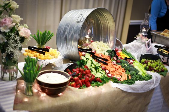 This would work very well at a country wedding...great photograph...Zion Photography - Campbell Wedding - Reception food table