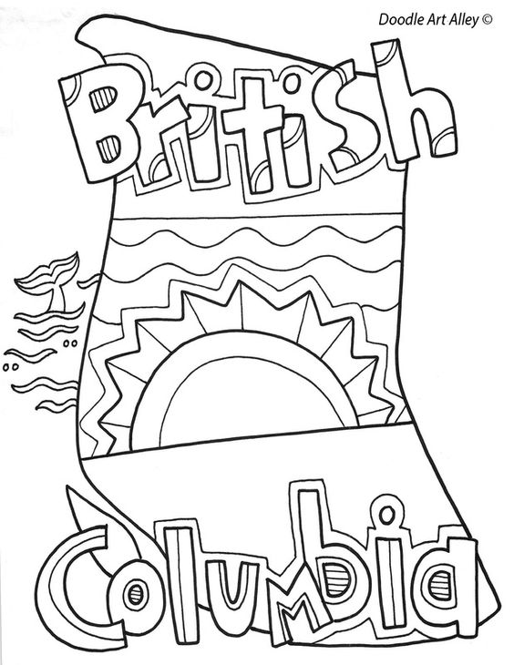 British Columbia Coloring Doodle Page Social Studies Preschool
