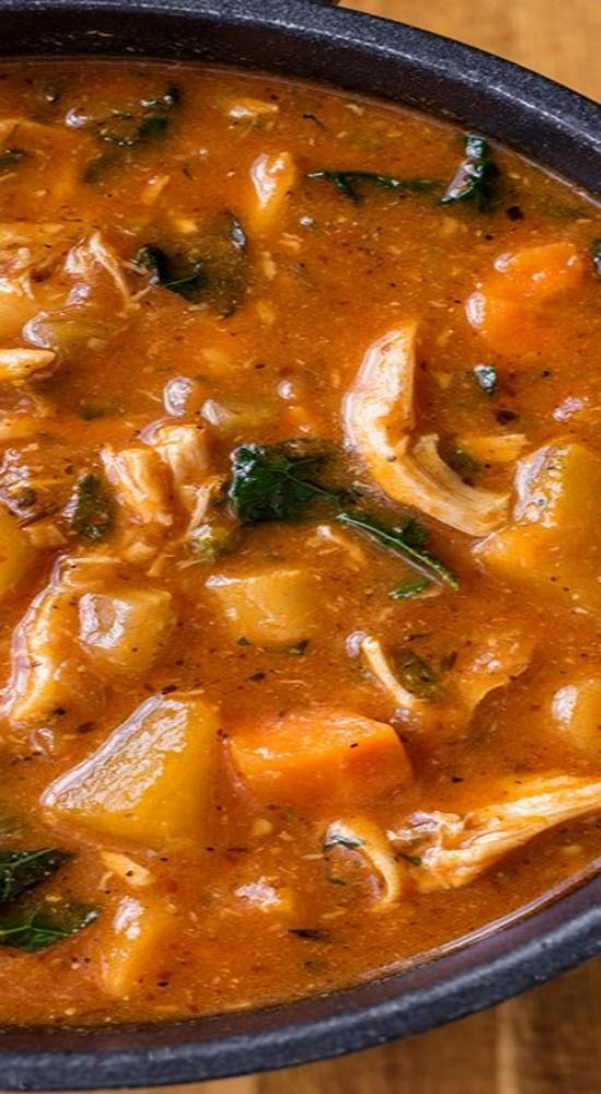 Hearty Italian Chicken and Autumn Veggie Soup with Roasted Garlic and Tomato (1) From: The Cozy Apron, please visit