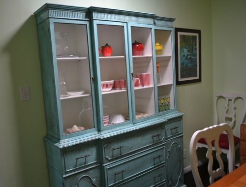Distressed Painted Furniture Project: My Antique Breakfront China Hutch by sarahx