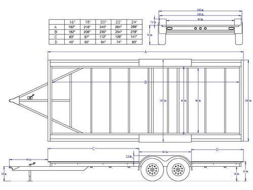 Iron Eagle Steel Frame 8 1 2 X 20 10k Tandem Axle Pad Trailer Pad 10k20ee Iron Eagle Trailer Diy Aluminum Trailer