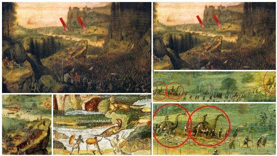 Foto's: Dinosaurussen In Schilderij Van Pieter Bruegel De Oude In 1562.