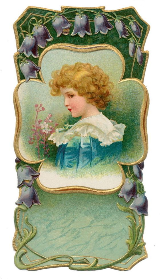 Ellen Clapsaddle Die Cut - Victorian Boy with Flower Trim: