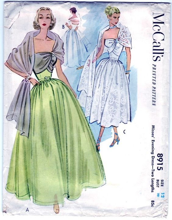 Vintage 1952 McCall&-39-s 8915 UNCUT Sewing Pattern Misses&-39- Evening ...