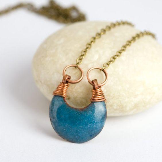 Light blue    enamel necklace enamel jewelry by jacquelinefouche, $34.00