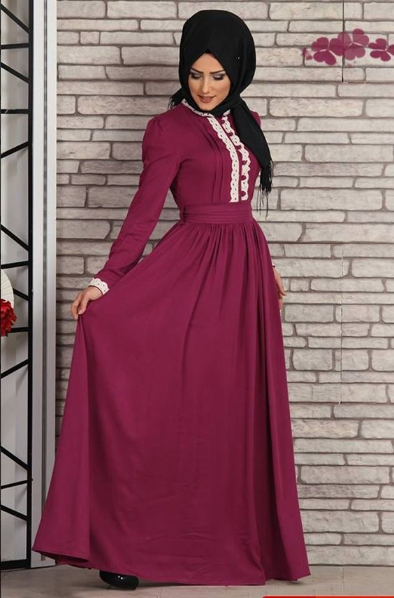 Long purple frock with black hijab for party