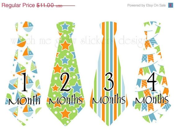 ON SALE Precut Monthly Stickers Boy Tie by WatchMeGrowStickers, $9.68