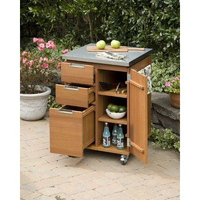 Home Styles Montego Bay Patio Kitchen Cart With Stainless
