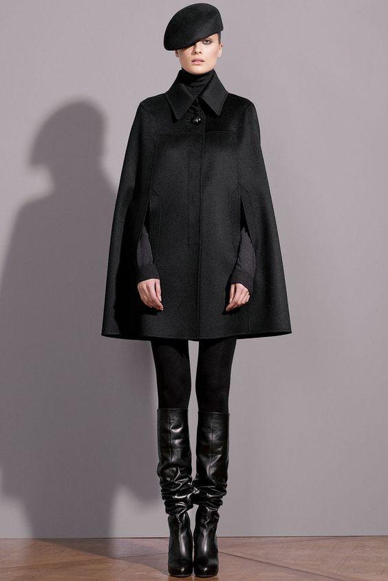 CELINE $2195 black alpaca wool cape coat céline runway winter