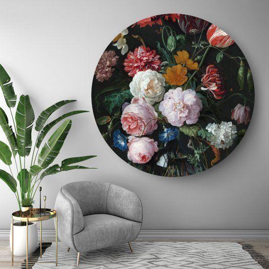 Hip Orgnl Schilderij Stilleven Met Bloemen In Een Glazen Vaas 140cm Wandcirkel Wanddecoraties Glazen Vaas Woonkamer Decoratie