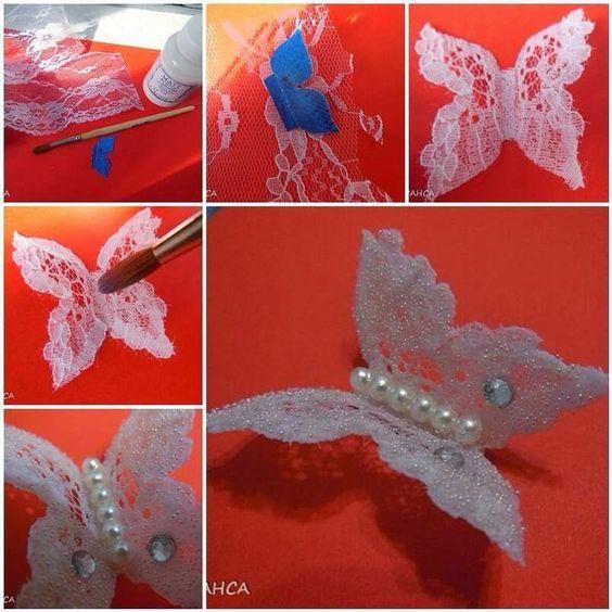 ARTE COM QUIANE - Paps,Moldes,E.V.A,Feltro,Costuras,Fofuchas 3D: pap Borboleta de Renda