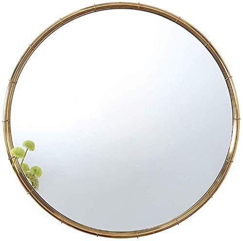 Grj Household Items Metal Framed Round Hanging Mirror Hd Nordic Style Stainless Steel Wall Mounted In 2020 Round Hanging Mirror Framed Mirror Wall Wall Mounted Mirror