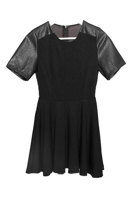 Splicing PU Black Shift Dress. $67.99