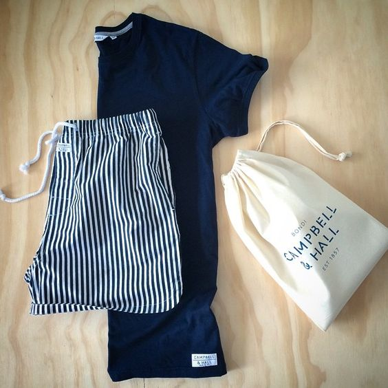"""""""The Bennet Gift Bag: navy crew tee and stripe boxers #menswear #ootd #valentinesday"""""""