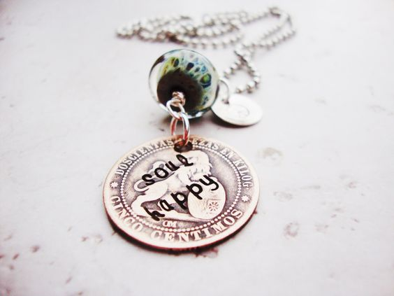 Soul happy hand stamped old coin necklace with peace charm and boro glass by SoulsInspiration on Etsy