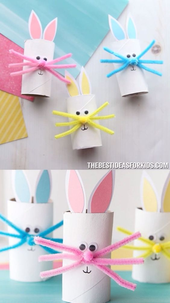 TOILET PAPER ROLL BUNNY 🐰- such a cute Easter craft for kids! Great for preschool or kindergarten.