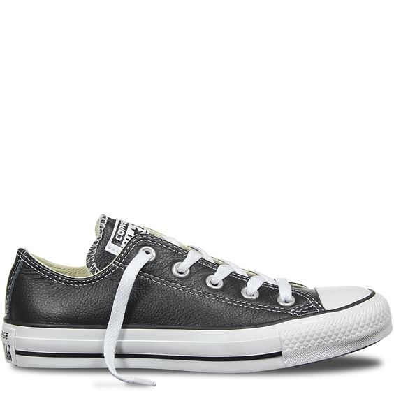 Time for a change. This new release Converse Chuck Taylor All Star features a fresh black leather that provides a more genuine feel than the older smooth leather upper it replaced. US MENS SIZING Guys - Choose your normal size Girls - Choose two sizes down from your normal size, eg. if you are normally a Womens US 8, choose a 6 Mens