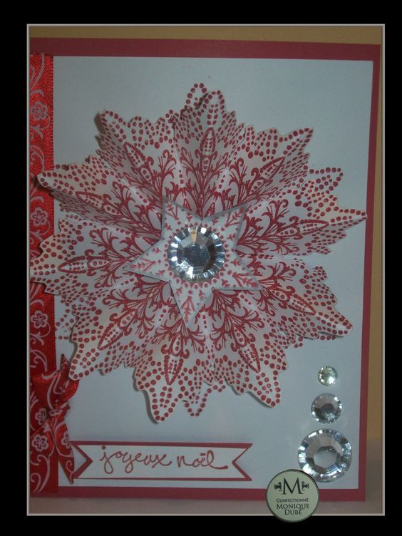 ma carte  création pour noel    mon flocon rouge 3D