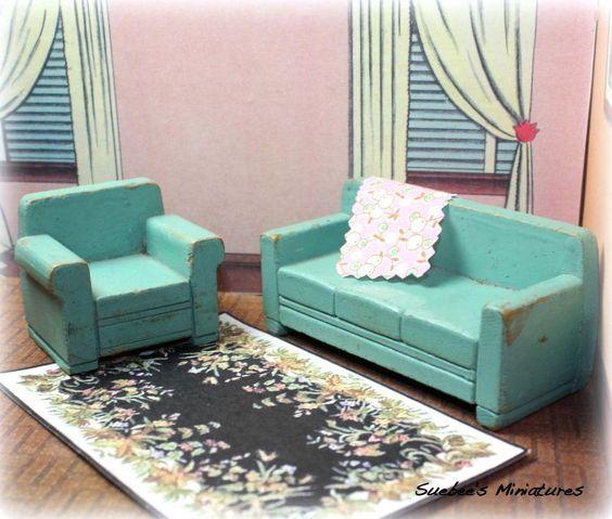 Vintage Dollhouse Wood Furniture 1940S Living Room Set 3 4   Ebay