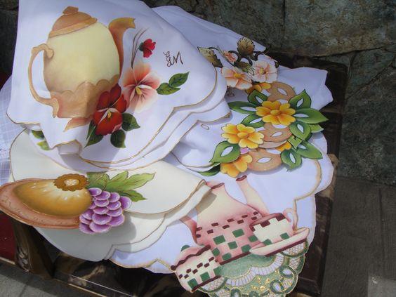 Paneras realizadas con pintura acr lica sobre tela mis - Paneras de tela ...
