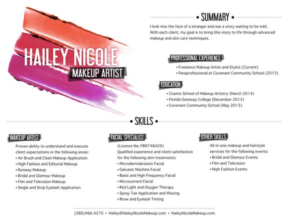 Resume for makeup artist freelance