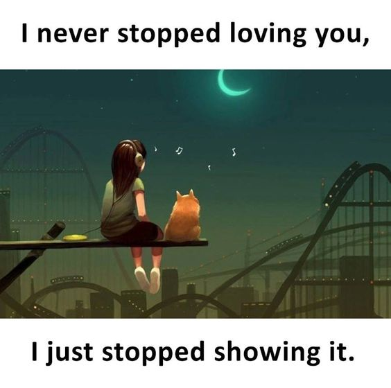 I never stopped loving you, I just stopped showing it.