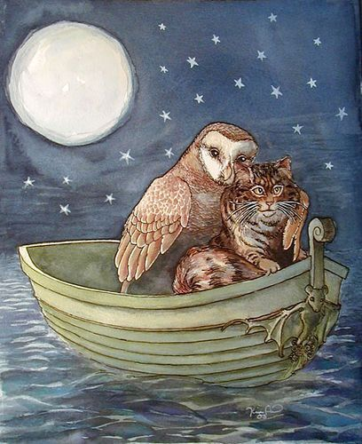 """The Owl and the Pussy-cat went to sea In a beautiful pea-green boat, They took some honey, and plenty of money, Wrapped ...:"