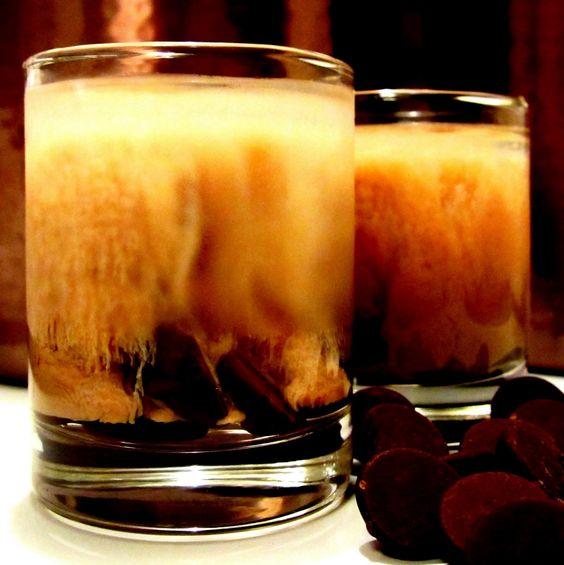DARK CHOCOLATE MARTINI SHOTS  -8-10 DARK Chocolate Chips  -1/4 Shot Vanilla Vodka  -1/3 Shot Butterscotch Schnapps  -1/3 Shot Godiva Chocolate Liqueur.