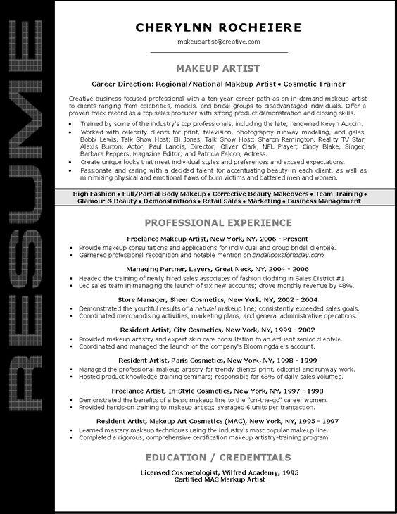 Resume Sample for Makeup Artist Things to Do Pinterest - freelance artist resume