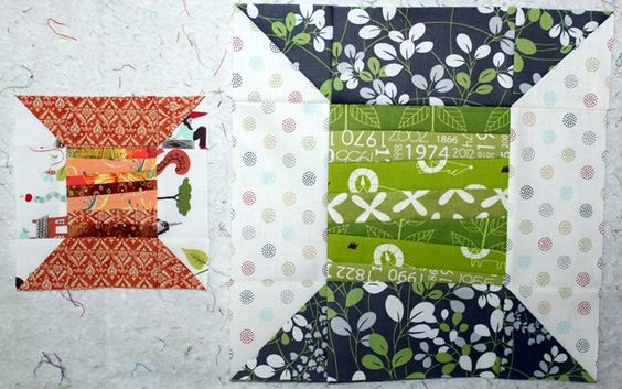"6.5"" and 12.5"" unfinished - Strippy Spool quilt block tutorial"