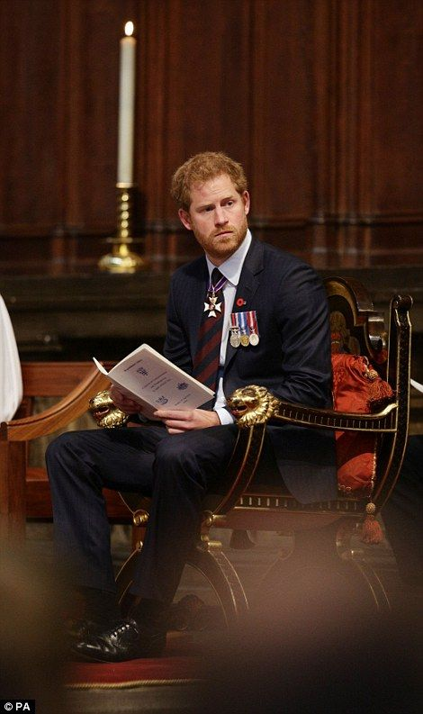 Prince Harry sat at the front of the abbey, listening to the readings and in participating in the hymns and prayers