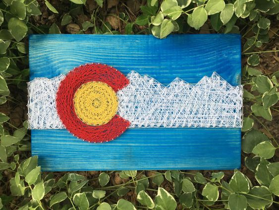 Colorado Flag Nail and String Art Wood Sign by BrittonCustomDesigns
